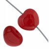 Glass Heart Bead 8mm Red